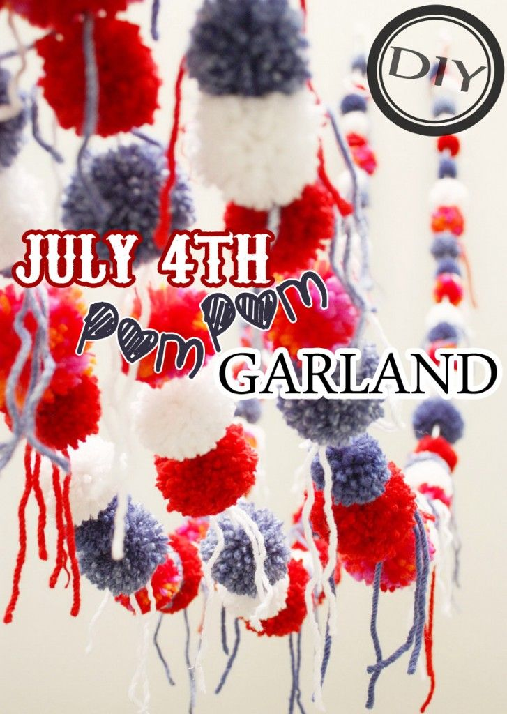 DIY July 4th Pom Pom Garland – Top Easy Patriot Holiday Interior Decor Design Project - Easy Idea (3)