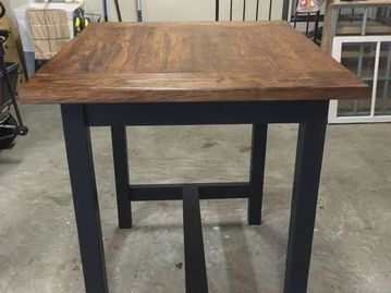 This Is A High Top Farm Table With Bread Board Ends Finished With - High top farm table