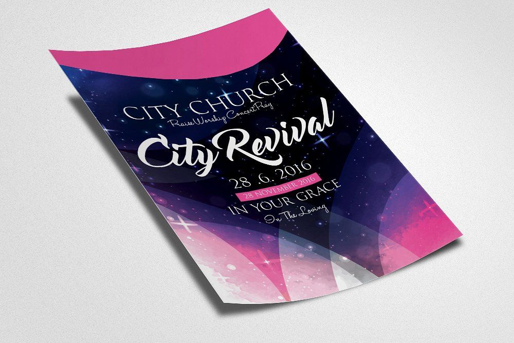 The City Revival Church Flyer Flyer Print Templates Revival
