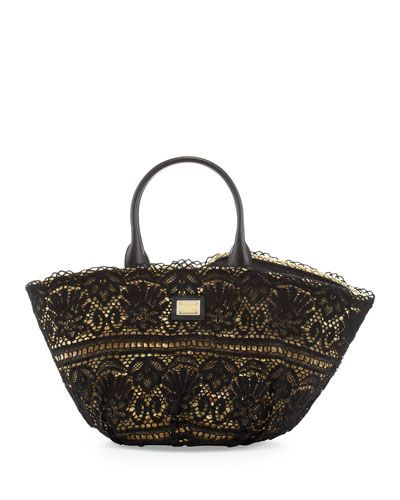 Kendra Lace Straw Tote Bag Black By Dolce Gabbana At Neiman Marcus