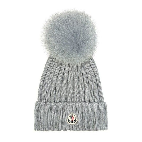 Moncler Fur-pompom ribbed-knit hat (€300) ❤ liked on Polyvore featuring  accessories ab0ef7f5e499