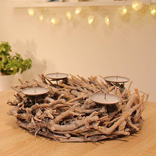 Wonderful Adventskranz Holz Rund Ø38cm Advent Kerzenständer Mit Dorn Weihnachtsdeko  Wurzelholz Holzbündel Tischdeko Weihnachten Kranz