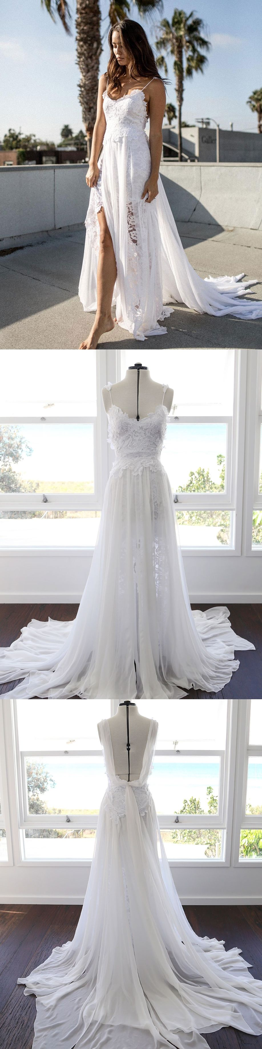 a288b3a83686 Ivory Tulle Beaded Wedding Dresses Spaghetti Strap V Neck Bridal Dress. Spaghetti  Strap White wedding dresses,cheap beach wedding dresses,simple wedding ...
