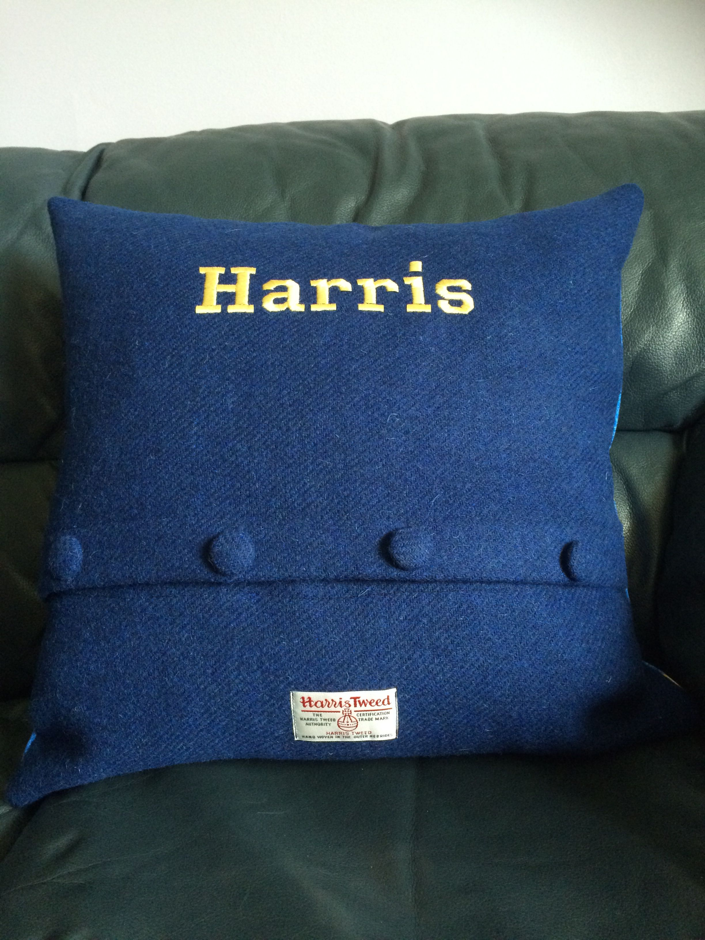 Harris tweed cushion for a little boy called Harris