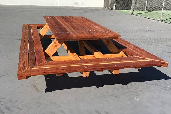 Custom Made Picnic Tables Large Thru Bolt Redwood Table Wide Wrap Around Ben