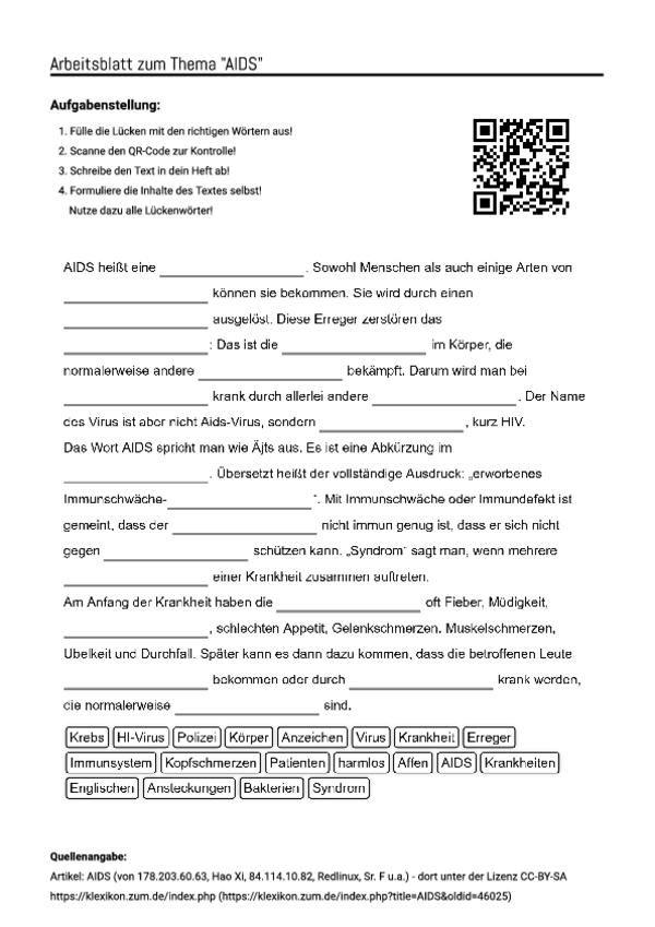 arbeitsblatt mit l ckentext zum thema aids unterricht schule biologie anatomie und. Black Bedroom Furniture Sets. Home Design Ideas
