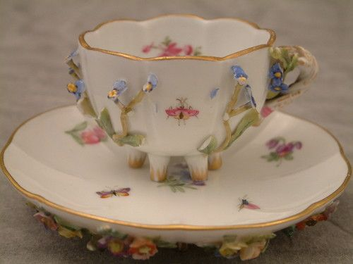 Meissen C1814 Ornate Applied Flower Insect Cup Saucer