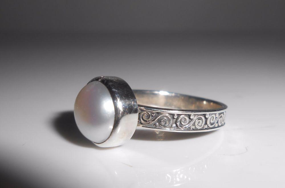 Janice Girardi JGD Sterling Silver Mabe Pearl Ring Size 6 #JaniceGirardiJGD #Solitaire