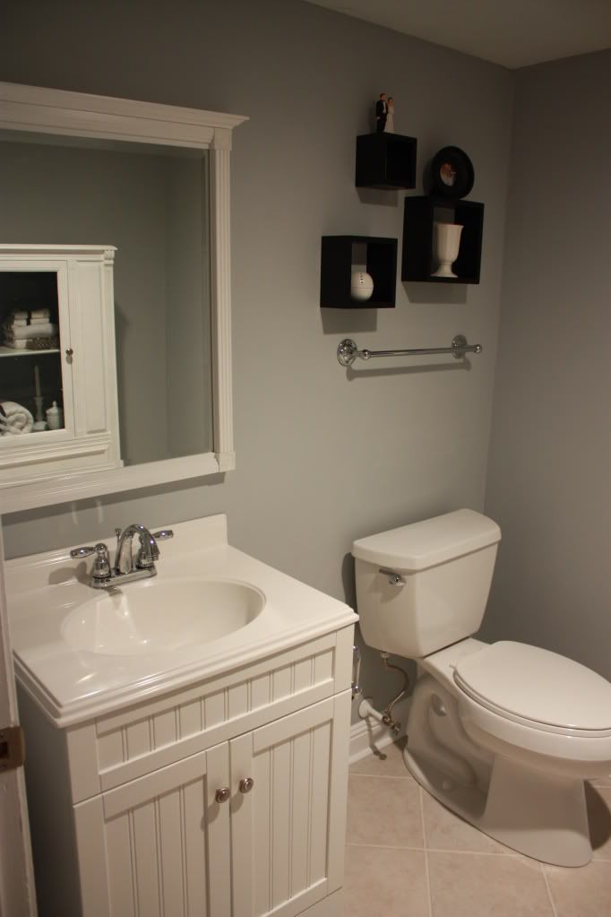 Our first house grey walls house tours and the white for Downstairs bathroom ideas