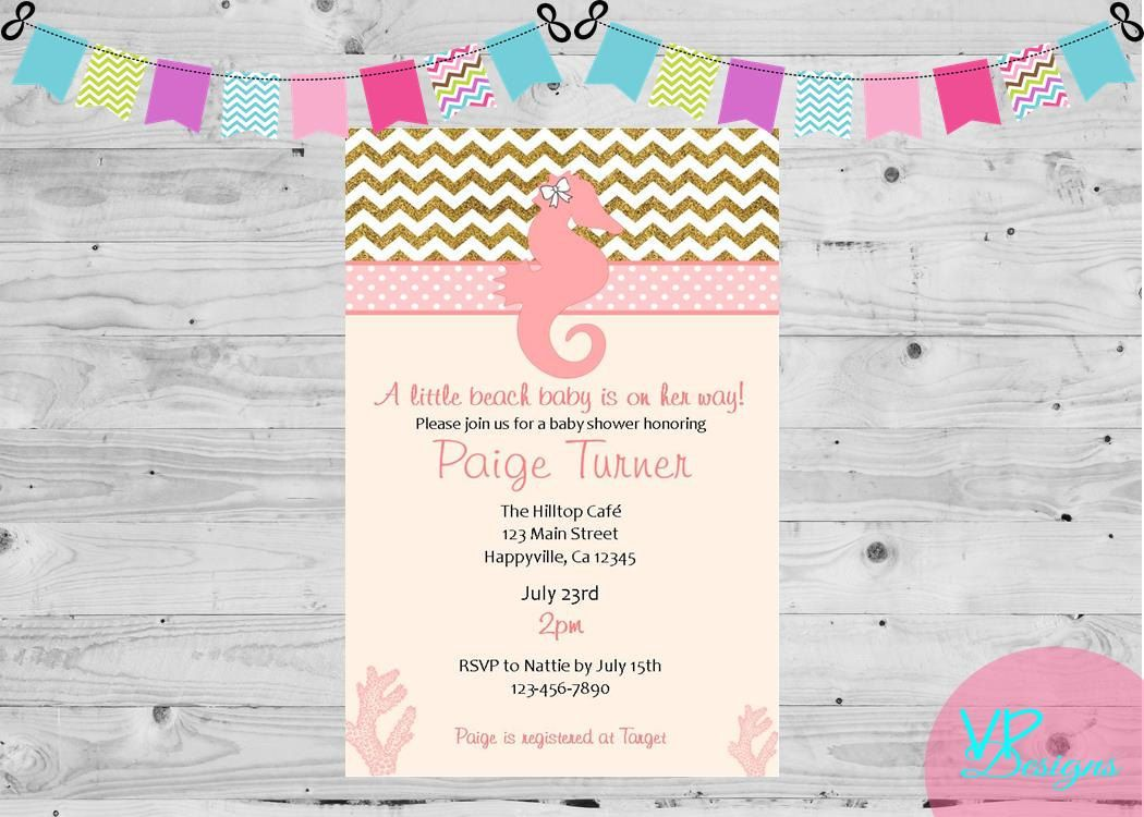 Beach pink and gold baby shower invitation, sea horse invitaion by ...