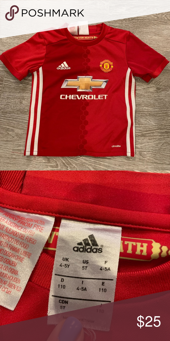 b3f642e3d4f Youth Manchester United Soccer Jersey 5T Kids Man U jersey purchased in  London. Size is US 5T. Excellent Condition. Smoke Free home. Adidas Shirts    Tops
