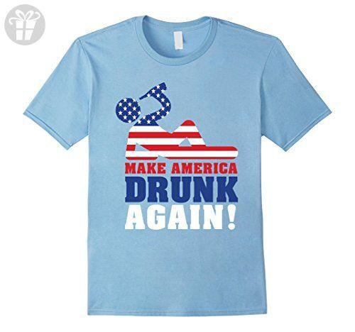 Mens Make America Drunk Again T Shirt Funny 4th of July Shirt XL Baby Blue - Funny shirts (*Amazon Partner-Link)