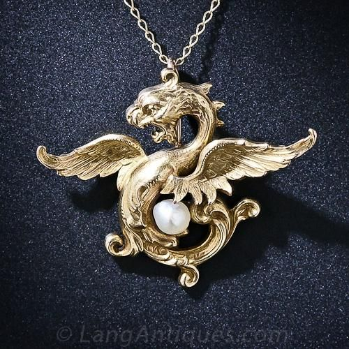 Art Nouveau Griffin And Pearl Pendant