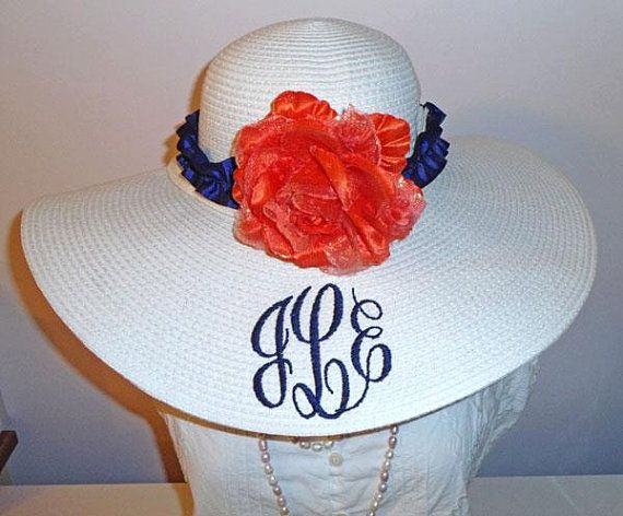 Ruffled Hat Band with Flower or Bow  Custom by LaDiDaLadyBoutique (Accessories, Hat, Women, wedding hat, bridesmaid hat, sunbonnet, floppy hat, monogram, ribbons, bonnet, wedding, pink hat, hat band, ruffled band, hat flower, custom ruffle)
