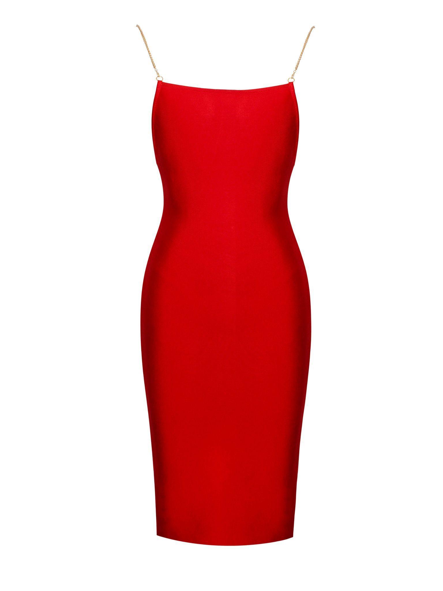 9615ba45b7cf Yolanda Glold Chain Strap Red Bandage Dress | Products | Red bandage ...