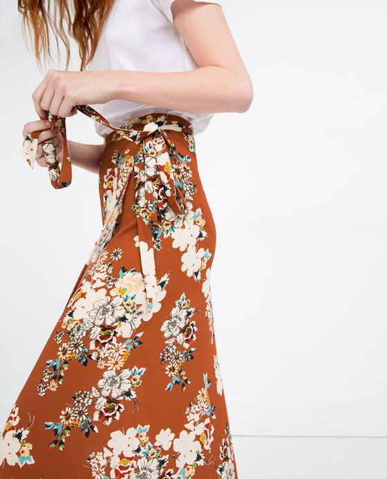 Image 4 of LONG WRAP SKIRT from Zara | Floral | Pinterest | Wraps ...