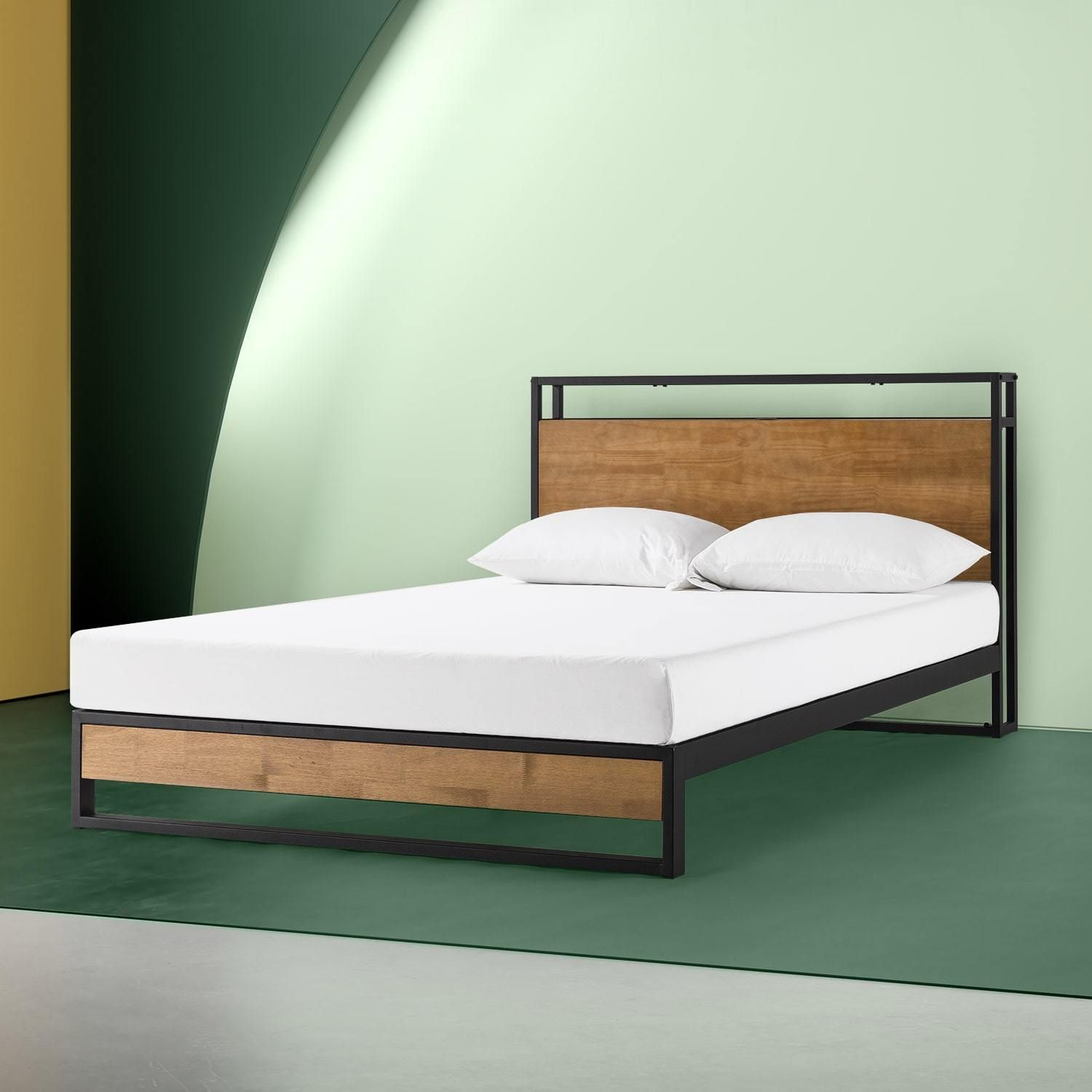 Suzanne Metal And Wood Platform Bed Frame With Headboard Shelf And