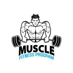 Fitness logo badge with muscle man, Gymnastic logo template vector, Body Build logo badge - Buy this...