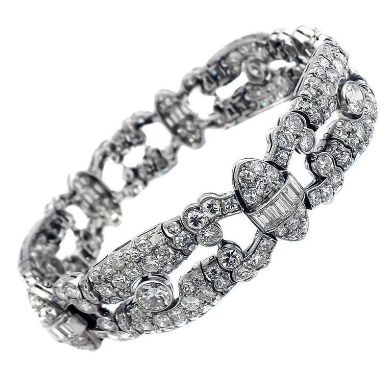Art Deco Platinum Diamond Bracelet, ca 1930 | From a unique collection of vintage more bracelets at https://www.1stdibs.com/jewelry/bracelets/more-bracelets/