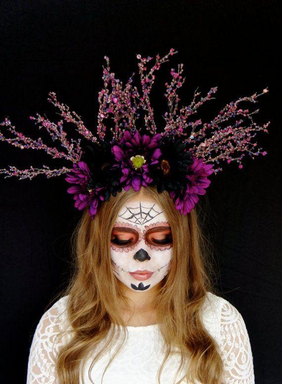 halloween day of the dead flower crown halloween headpiece sugar skull costume purple and black dia de los muertos headband fascinator