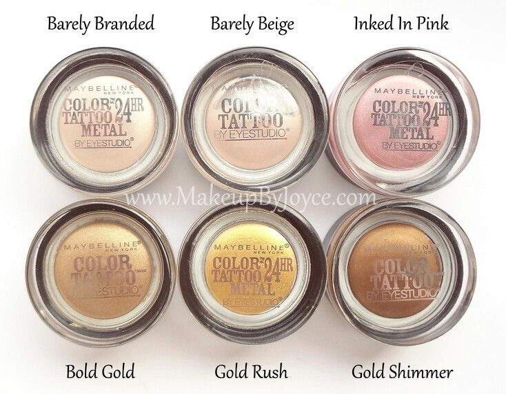 Review swatches maybelline color tattoo metal 24hr for Maybelline color tattoo gel eyeshadow