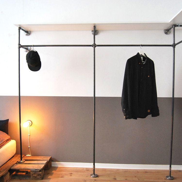 begebarer-kleiderschrank-offener-open-wardrobe-industriedesign ...