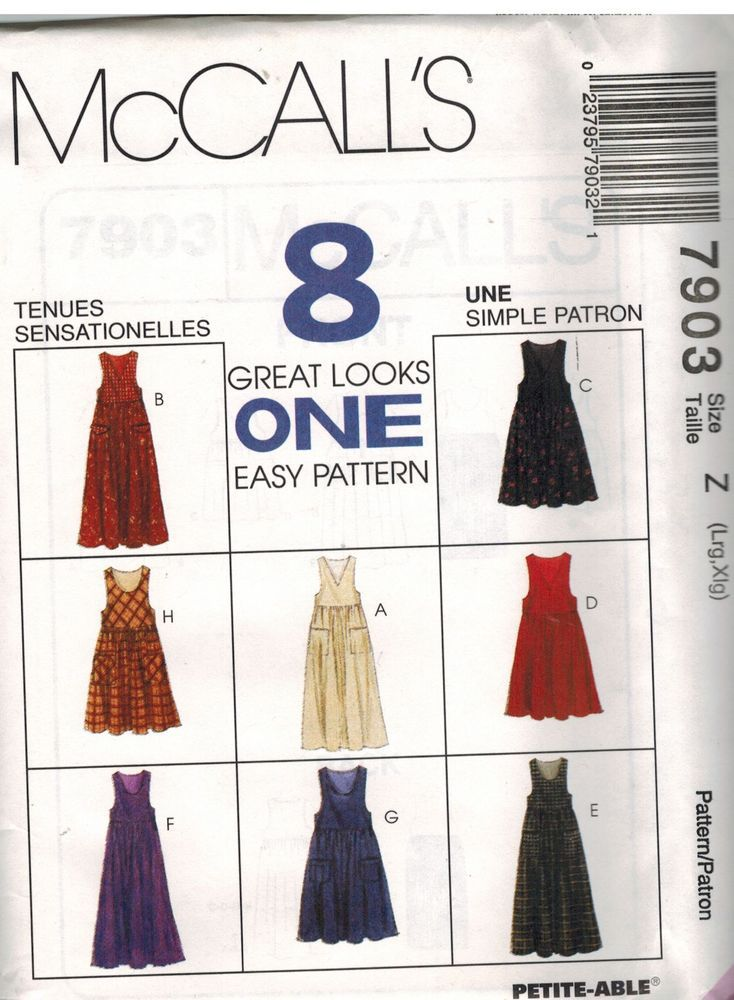 7903 UNCUT Vintage McCalls SEWING Pattern Misses Jumper Dress OOP FF ...