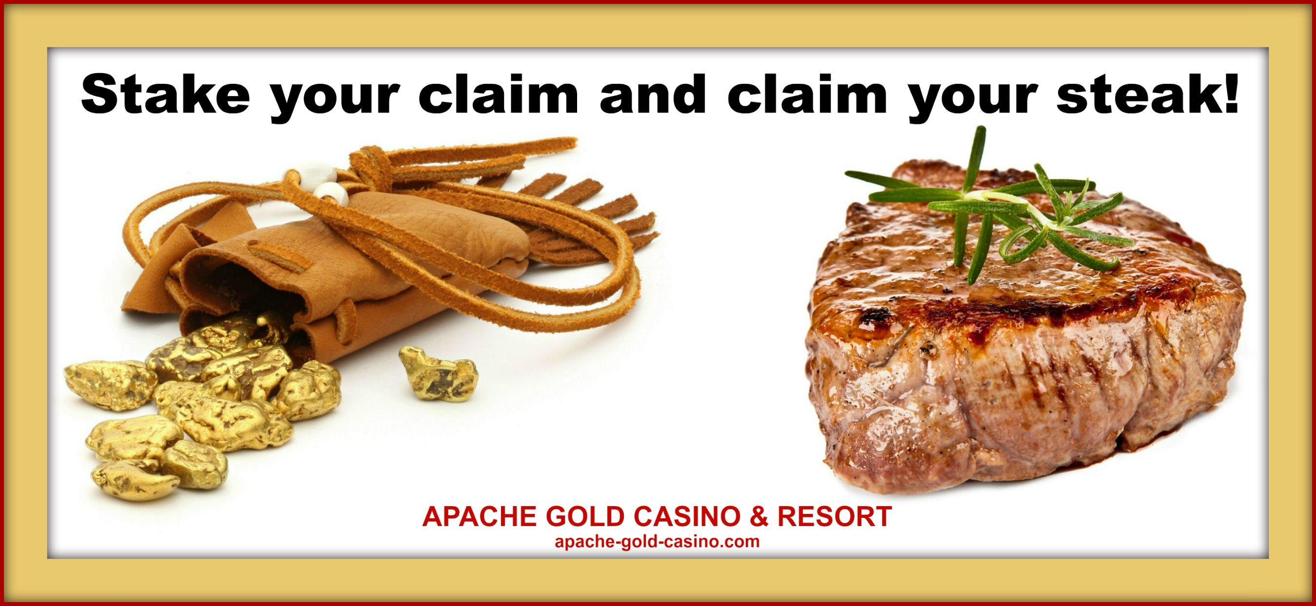 Ad for Apache Prime Steakhouse, located in the casino resort complex.