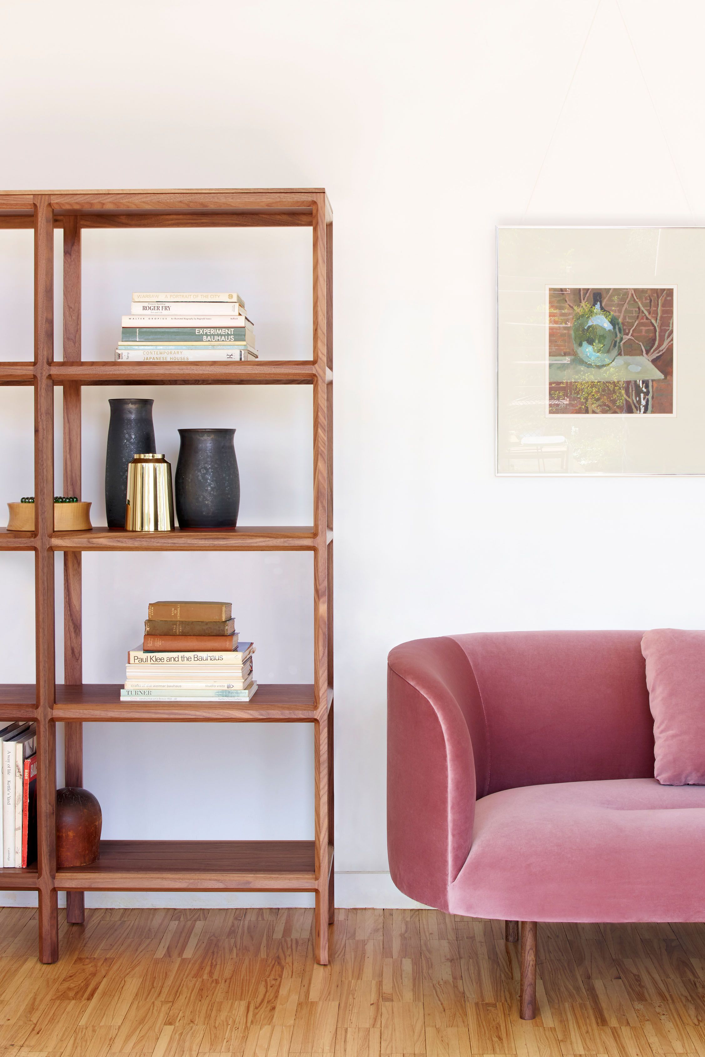 Continuous sofa by Faudet Harrison and Trieste shelving unit by