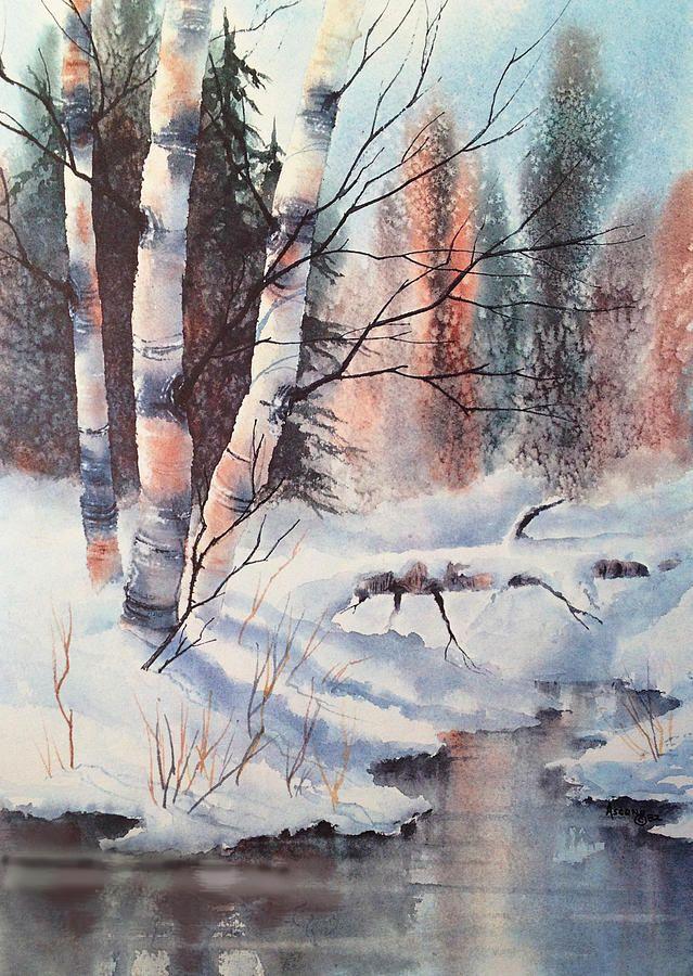 Alaska Birch Ii Peinture Paysage Aquarelle Et Aquarelle Facile