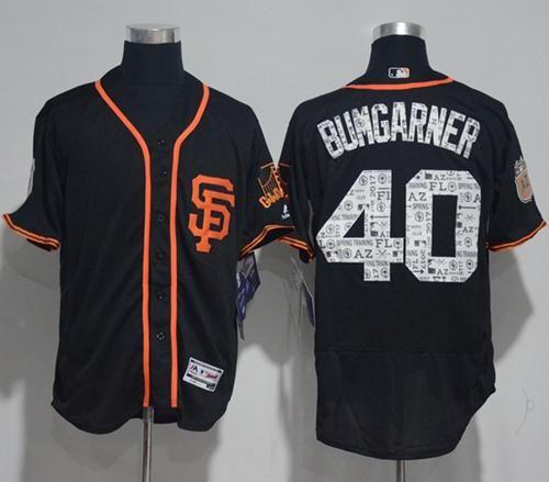 Men's San Francisco Giants #40 Madison Bumgarner Black 2017 Spring Training Stitched MLB Majestic Flex Base Jersey