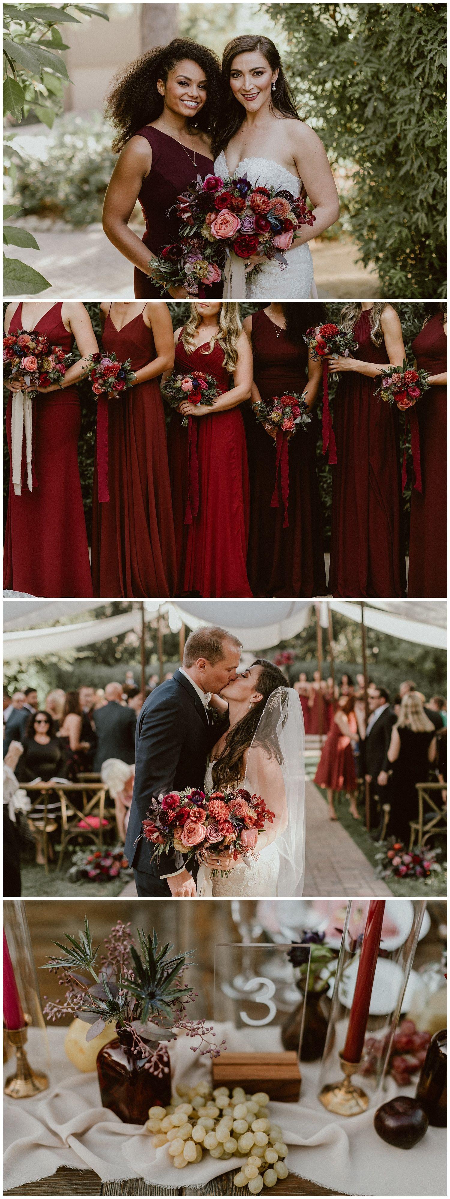 Wine Merlot And Burgundy Wedding Inspiration Fall Flowers Bridesmaids Dresses Romantic Moody In 2020 Wine Red Wedding Green And Burgundy Wedding Wedding Colors