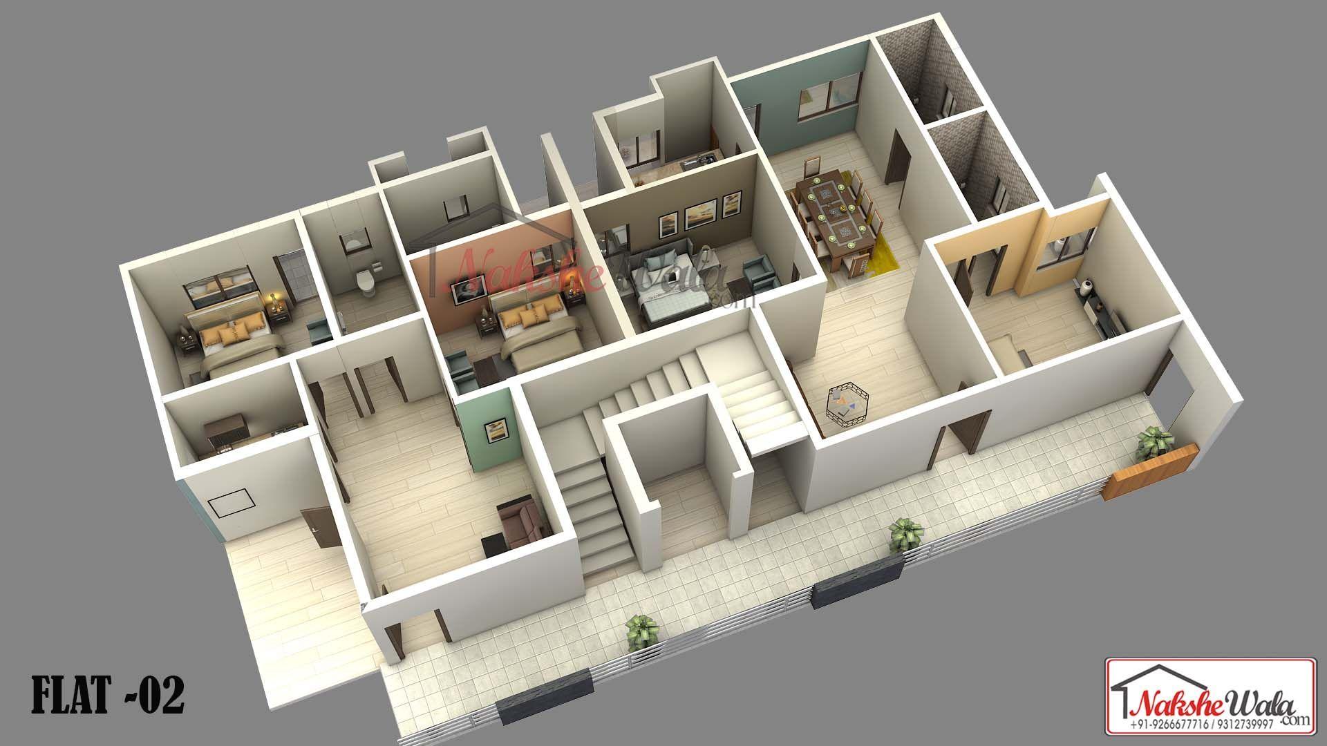 2 Bhk 3d Floor Plan Indian House Plans Floor Plan Design House Design