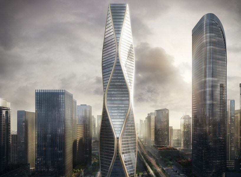 SOM Designs A Rippling New Tower The Hangzhou Wangchao Center
