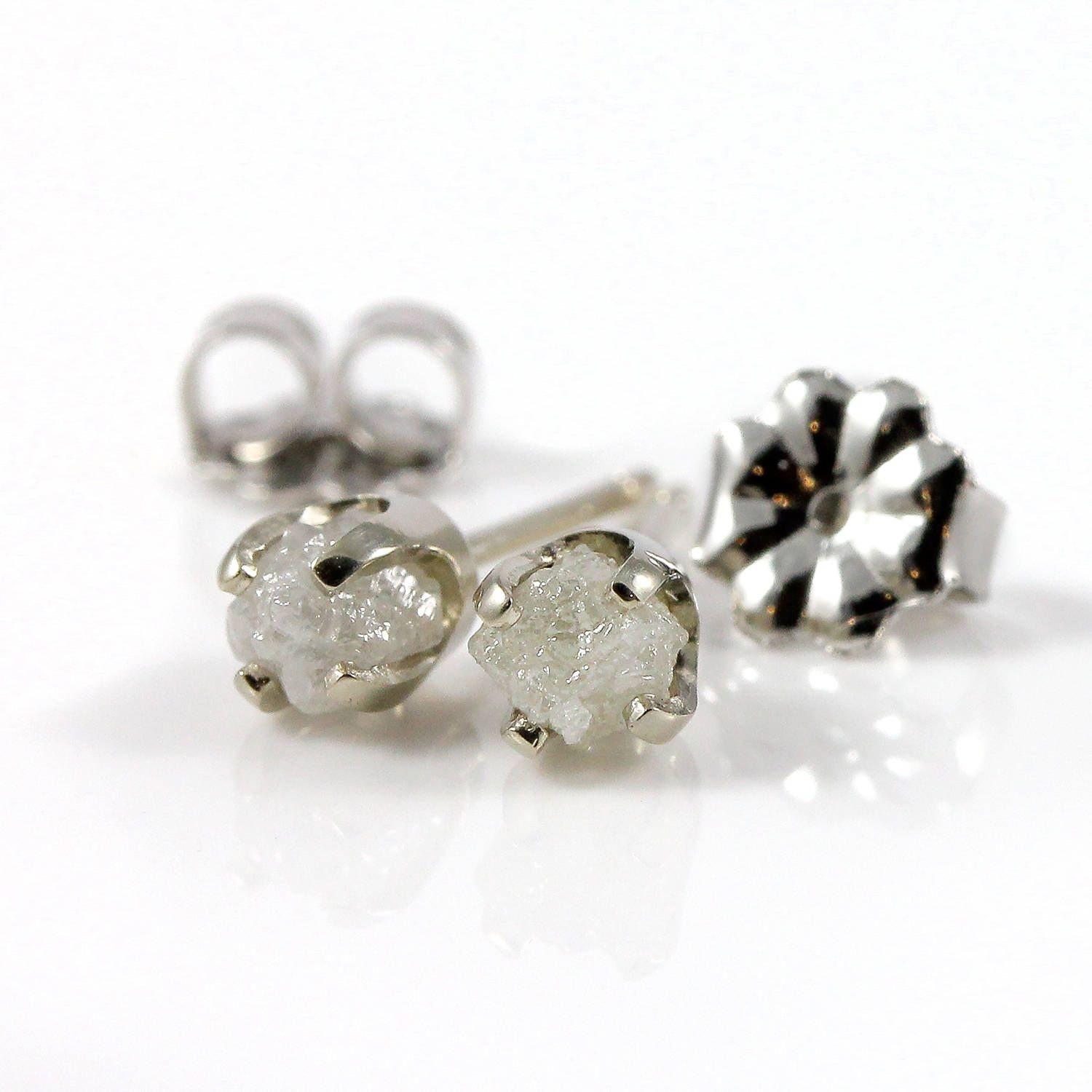 7177f7fee Rough Diamonds in 14K White Gold Earrings - Natural Unfinished Raw Stones -  White Diamond Studs - Gold Post Earrings