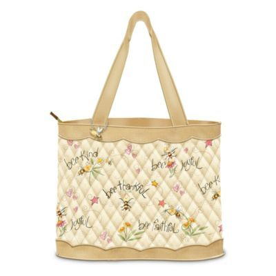 "Bee Art Tote Bag: Just Bee -  	     	              	View Sale Price   ""Bee"" inspired and ""bee"" stylish everywhere you go with a charming bee art tote bag, a custom design exclusively from The Bradford Exchange. Expertly crafted of luxurious quilted fabric in warm honey tones, this versatile carryall bag is decorated with..."