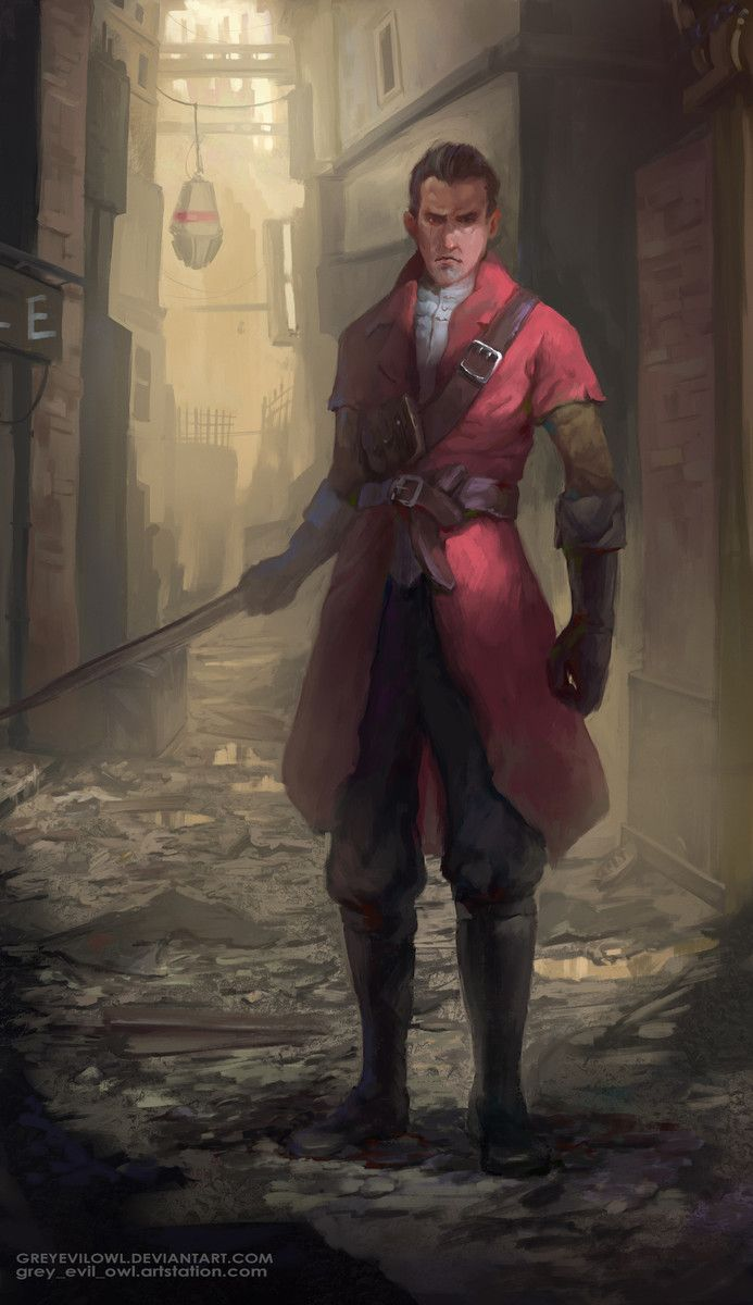 daud, dishonored, character, fanart, steampunk