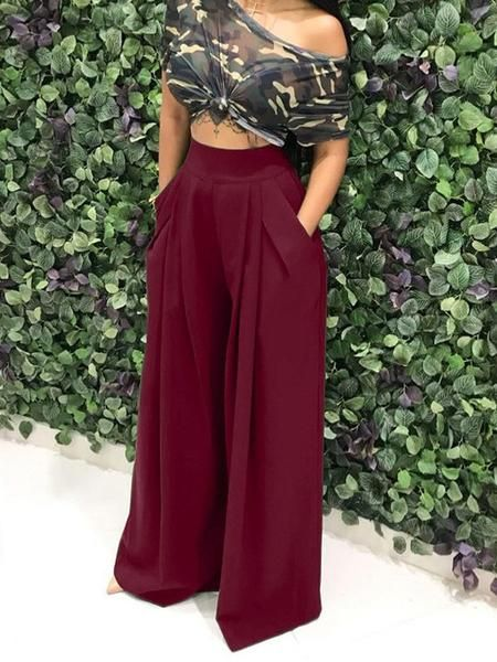 Photo of Pockets High Waisted Fashion Long Wide Leg Pants