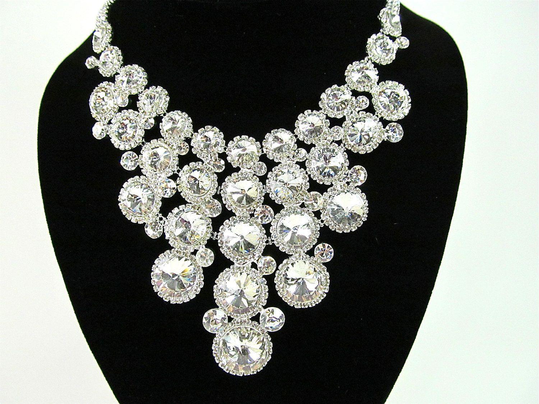 Chunky Rhinestone Bridal Statement Necklace Wedding Necklace. $72.00, via Etsy.