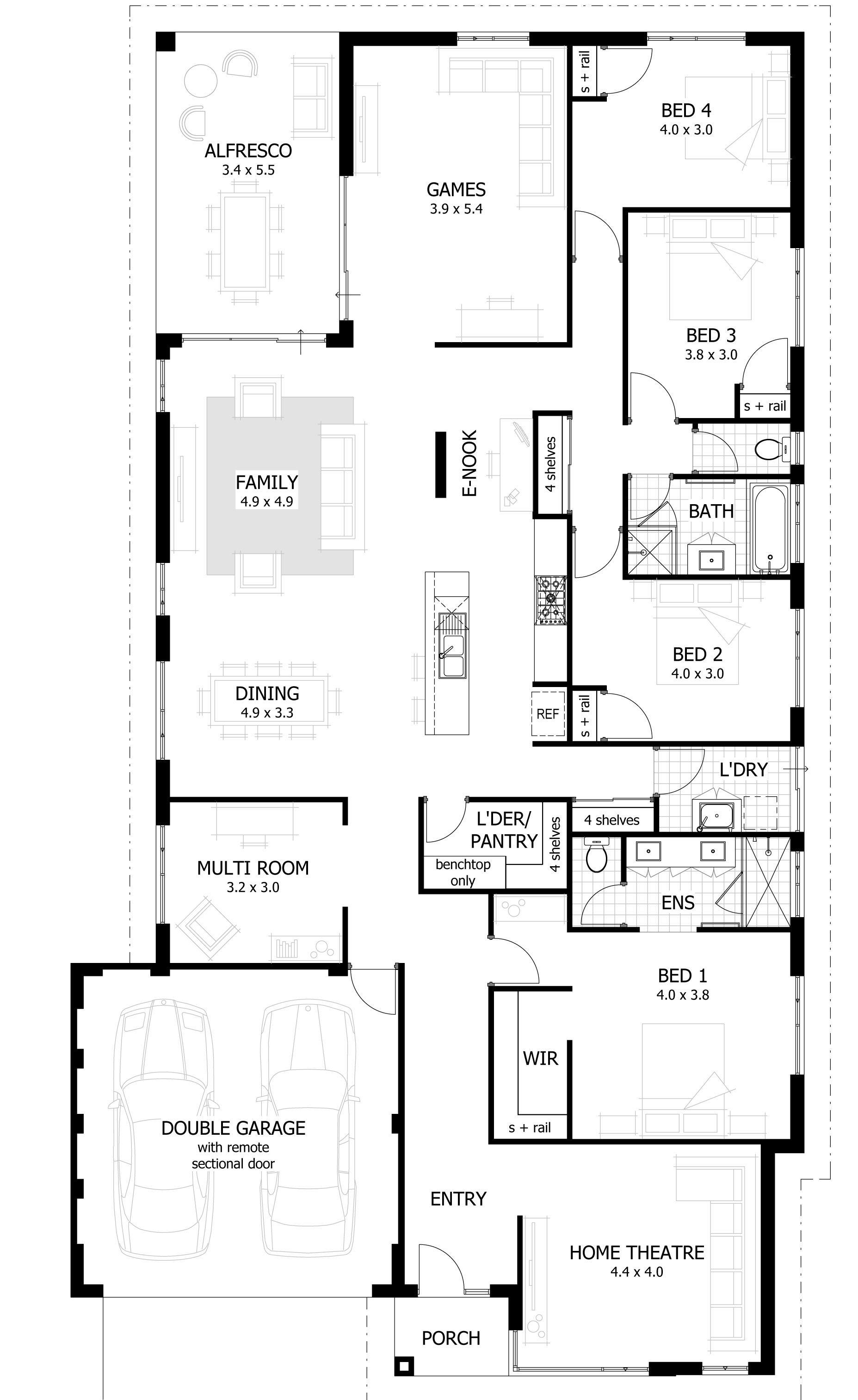 Brando Floor Plan Copyright C 2014 Celebration Homes Contemporary House Plans New House Plans Narrow Lot House Plans