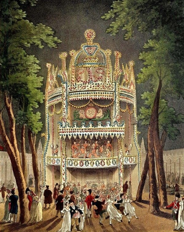 """Vauxhall...1809  """"Microcosm of London"""" by Rowlandson. Hard to chose the best of these 22 scenes of Regency London! - vauxhall gardens"""