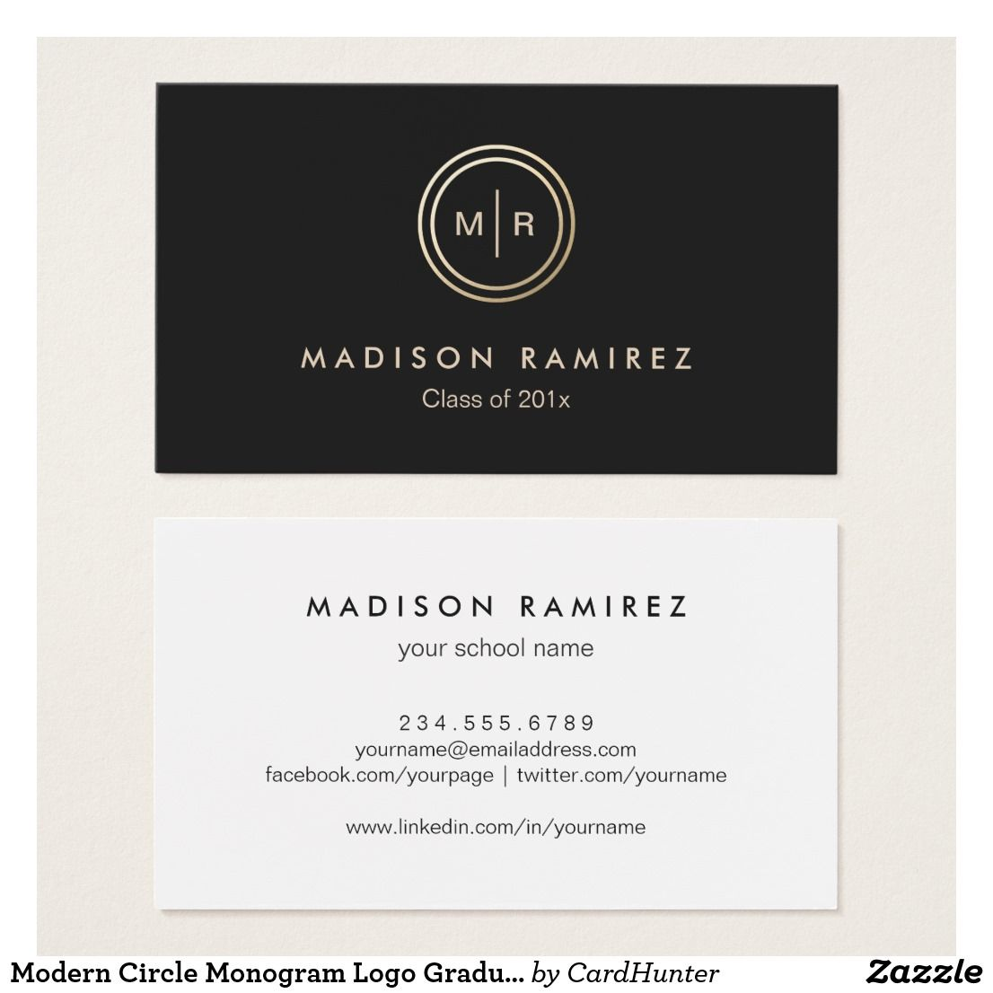 Modern Circle Monogram Logo Graduate Students Business Card ...