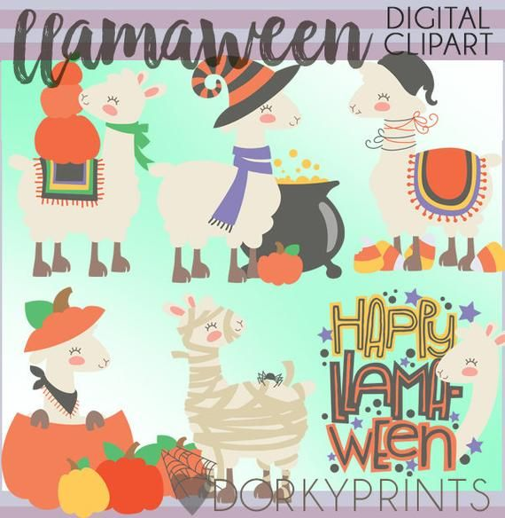 Llamaween Clipart -Personal and Limited Commercial Use ...