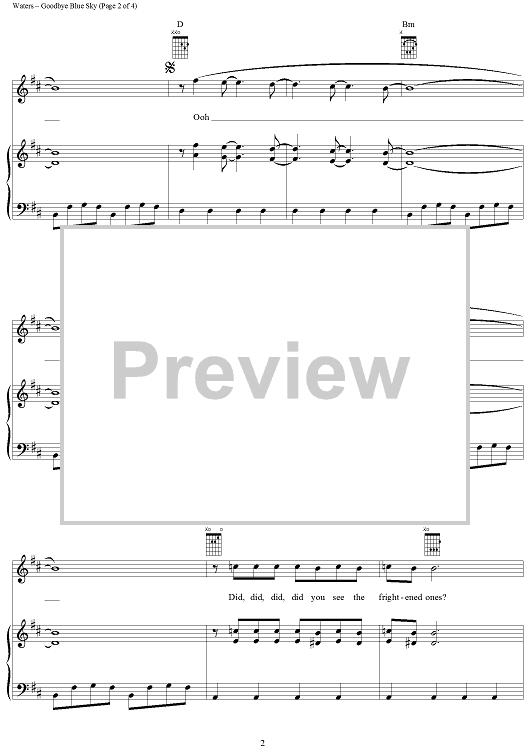 Goodbye Blue Sky Guitar Sky Sheet Music Blue