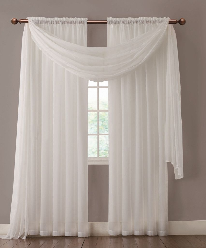Warm home designs pair of white sheer curtains or extra for Long window curtain ideas