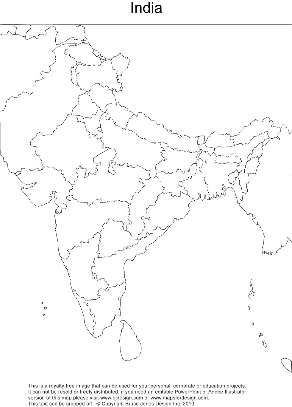 Royalty Free Printable Blank India Map with Administrative Districts and N
