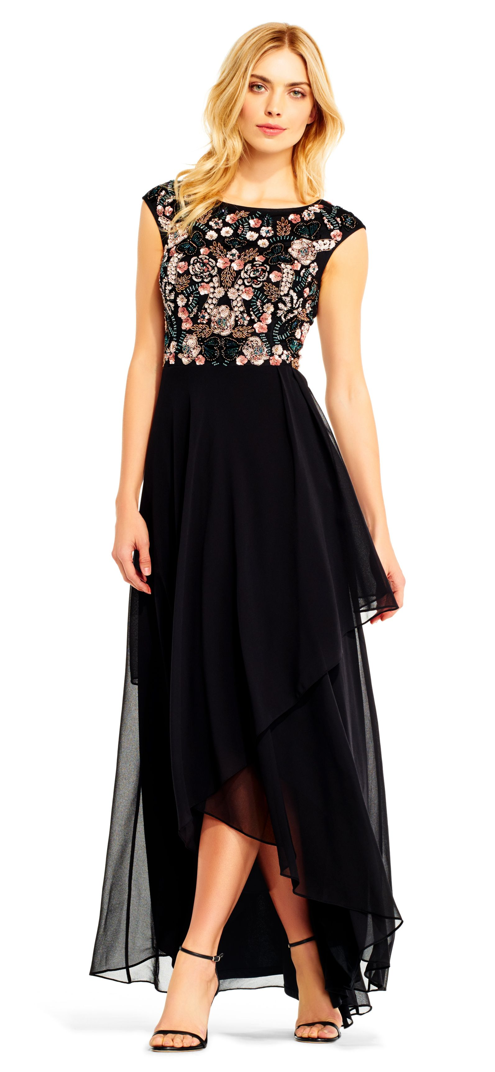 Cap Sleeve Chiffon Gown with Sequin Beaded Florals | Pinterest ...
