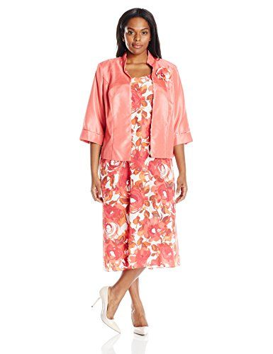 4df3229c89 Maya Brooke Womens Plus Size Floral Print Mandarin Collar Jacket and Dress  Coral 16W    Want additional info  Click on the image.