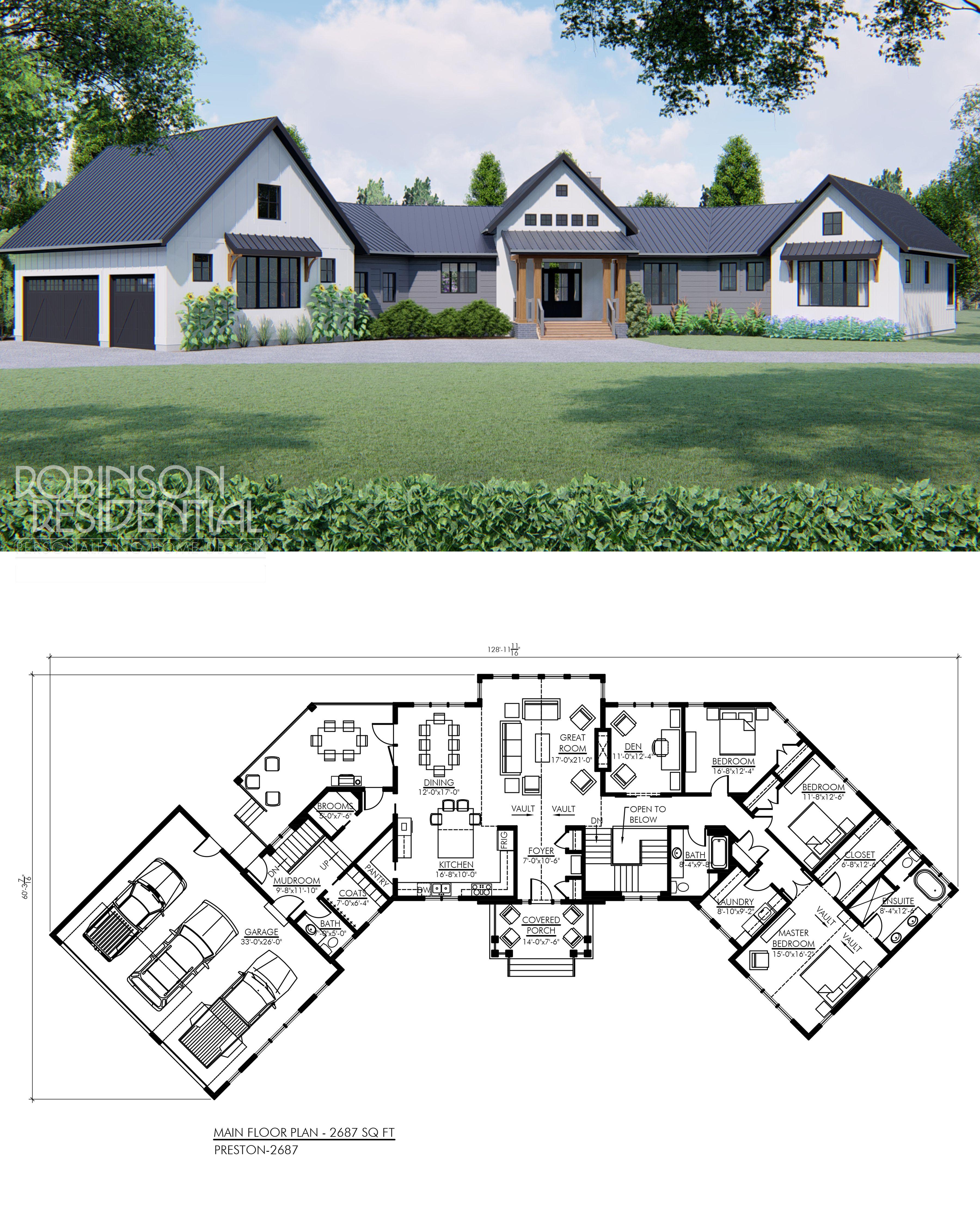 Modern Farmhouse Preston 2687 Robinson Plans Modern Farmhouse Modern Farmhouse Plans Basement House Plans