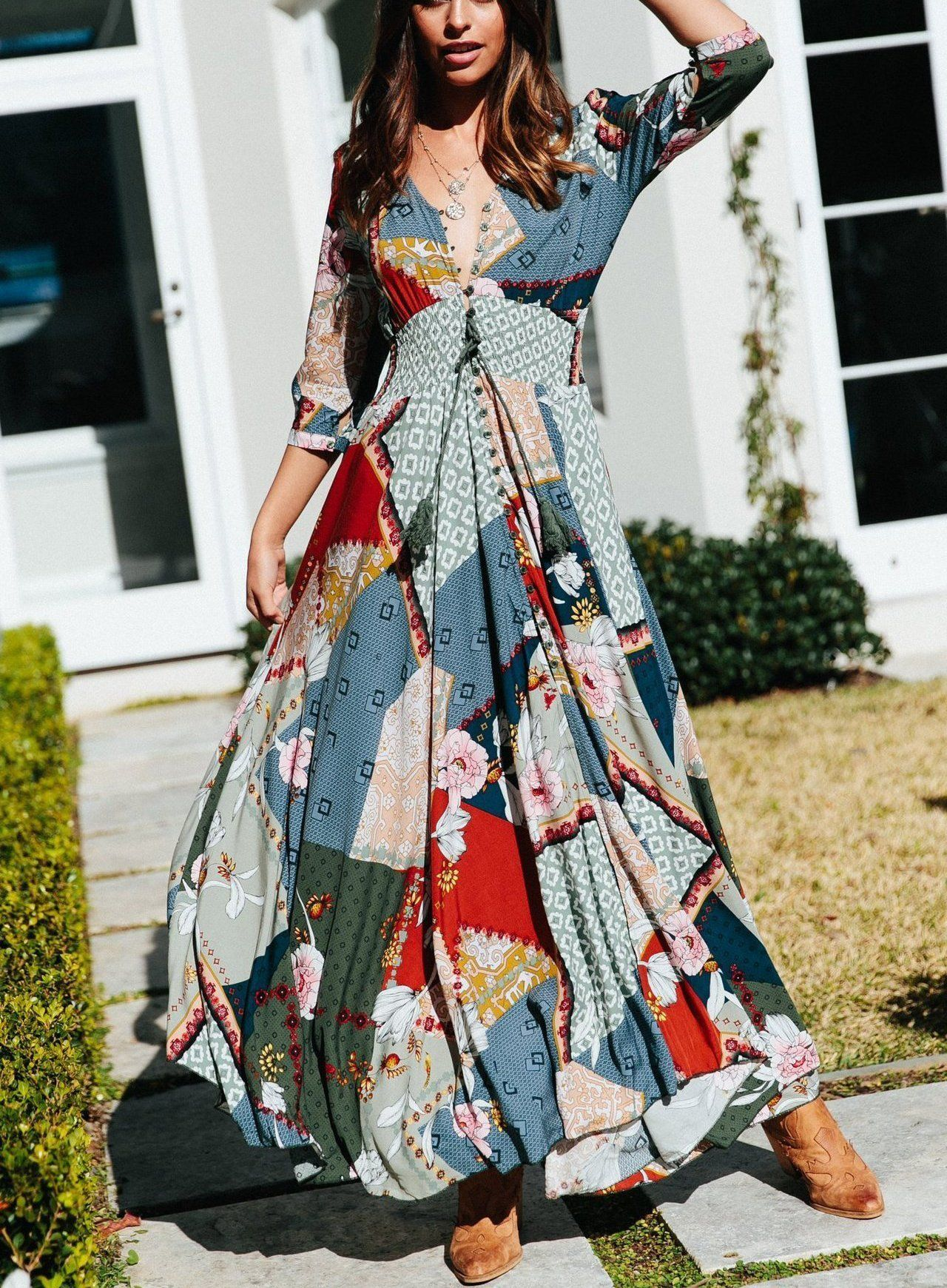 Casual Vacation Seaside Beach Bohemian Style V Neck Printing Maxi Dres Streettide Maxi Dress Boho Maxi Dress Printed Summer Dresses Summer Dresses For Women [ 1740 x 1280 Pixel ]
